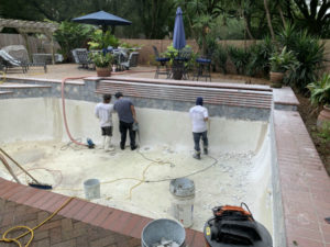 Pearland TX pool replastering